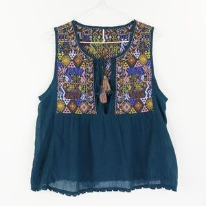 Free People Top Sz M Blue Embroidered BOHO Bohemia